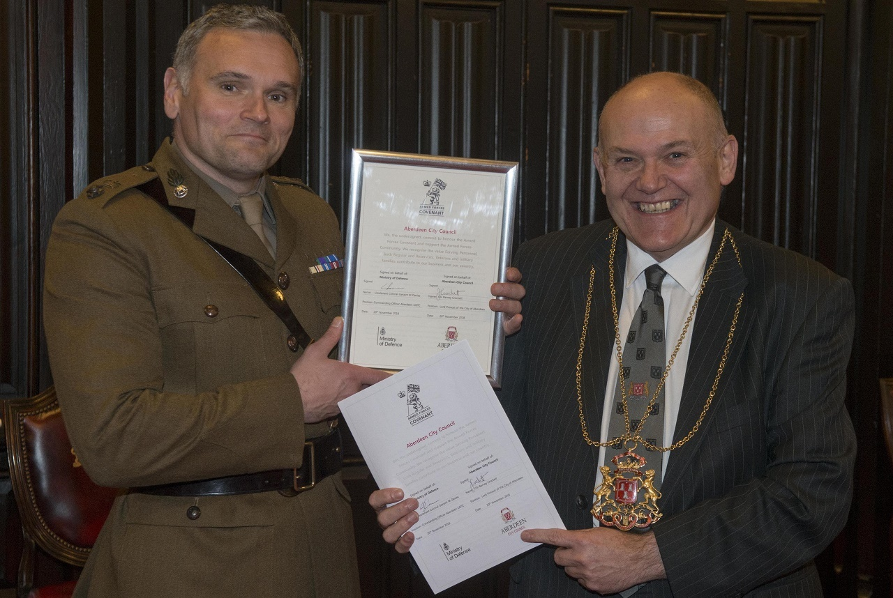Lieutenant Colonel Geraint Davies, commanding officer of Aberdeen University Officers Training Corps, on behalf of the Armed Forces and Lord Provost of Aberdeen, Barney Crockett, at the signing of the Armed Forces Covenant in November last year..