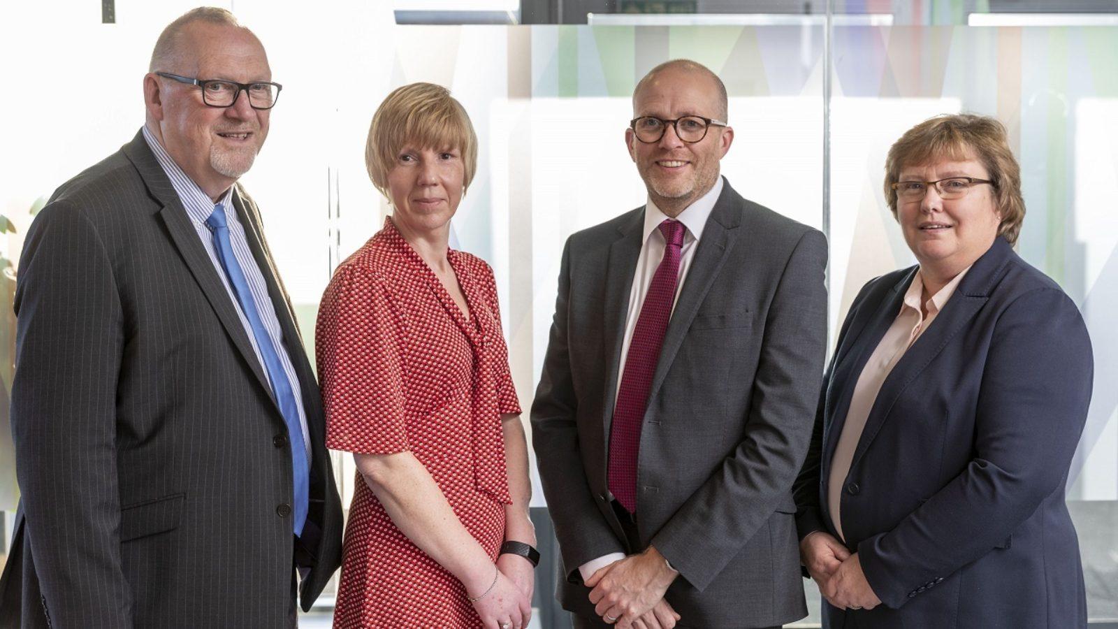 L-R: The Acumen Employee Benefit Team Nigel Saunders, Nicola Norrie, Andy Eason, Anne Lawson.