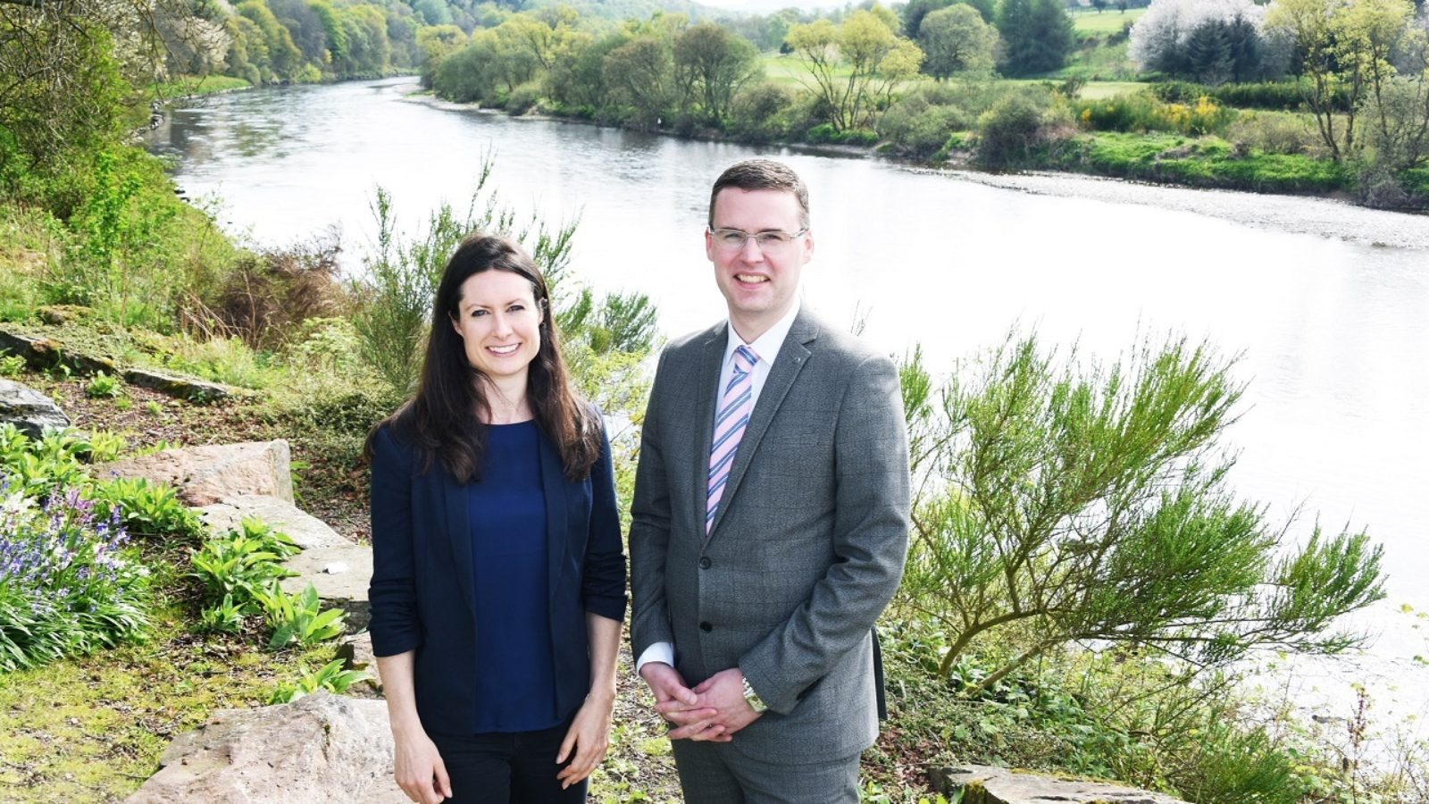 Dr Lorraine Hawkins, river director of Dee District Salmon Fishery Board and River Dee Trust, and Peter Walker, managing director of Maryculter House