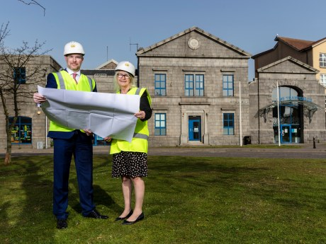Gavin Currie, managing director of Bancon Construction (left), with Liz Hodge, chief executive of Aberdeen Science Centre