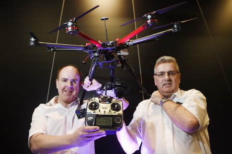 Richard Elliott (left) and Craig Jump (right) of Sky View Video (Scotland) with one of their drones