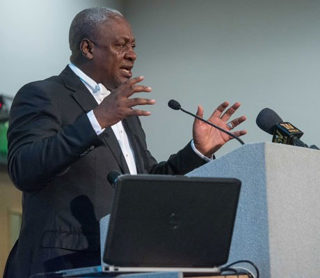 The Ghana president John Dramani Mahama talks with a Chamber audience earlier this year