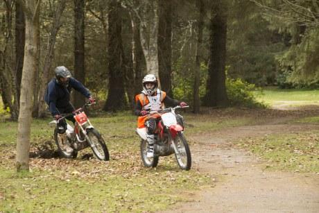Layton Whelan and Graeme Chalmers on the bikes