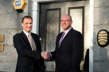 Litigation partner Martin Sinclair formally welcomes new partner Neil Torrance to the Carden Place office