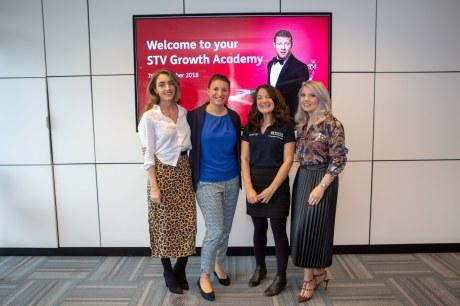 L - R: Megan Reid, audience development team lead, STV; Katie Martin, communications executive, STV; Melinda O'Reilly, entrepreneur acceleration manager from Royal Bank of Scotland; Danielle Kelly, client services director, STV