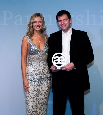 Rachel Riley, event host and co-host of TV's Countdown, and Infinity Partnership managing partner Simon Cowie at the 2018 Accounting Excellence Awards in London. Infinity won the Small Firm of the Year accolade 12 months ago.