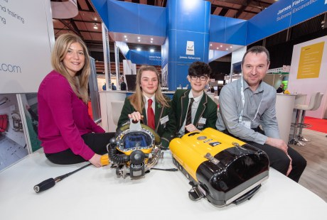 Steph Crawford of OPITO with Albyn school pupils Louise Brodie (16), Harris Macdonald (16) and Stuart Sloan of JFD