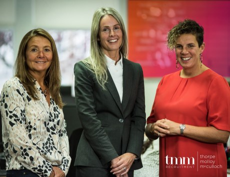 Photo courtesy of Motion Pictures Media. Karen Molloy, director; Amanda McCulloch, managing director and Judith Thorpe, director