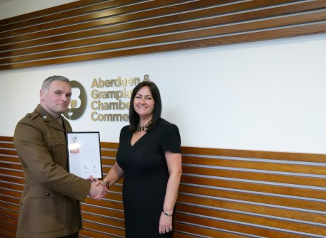 Lt Col Geraint M Davies and Seona Shand, head of membership at Aberdeen & Grampian Chamber of Commerce