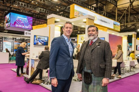 VisitAberdeenshire CEO Chris Foy with VisitScotland chair Lord Thurso at the VisitAberdeenshire stand at VisitScotland Expo