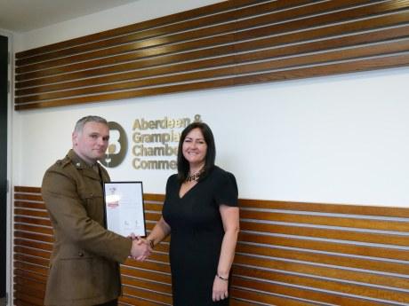 Seona Shand, head of membership and Lieutenant Colonel Geraint Davies